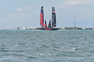 Defenders Emirates Team New Zealand skippered by Peter Burling vs challengers Oracle Team USA skippered by Jimmy Spithill during the 35th America's Cup 2017, Day 3, on June 24, 2017 in Hamilton, Bermuda - Photo Christophe Favreau / ProSportsImages / DPPI