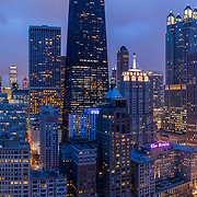 Aerial drone view of Chicago's Magnificent Mile and Near North Side areas; taken from a 380 foot hover above Oak Street Beach.