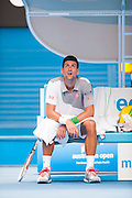 Defending Australian Open Champion Novak Djokovic (SRB) took on L. Mayer (ARG) in third day, second round play. Djokovic beat Mayer 6-0, 6-4, 6-4 at Melbourn's Rod Laver Arena.