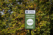 Transport for Londons TFL new signposts for the new Ultra Low Emissions Zone ULEZ have been erected around the inner orbital road perimeter around the capital, and seen on the South Circular in Dulwich on the day that the new area becomes effective for newer vehicles, on 25th October 2021, in London, England. Now 18 times larger, the new ULEZ area bans older vehicles such as polluting diesels and petrol cars older than 2006, an attempt to lower poisonous emissions that further harm the health of 1 in 10 children who have asthma. Drivers of non-exempt vehicles may enter the ULEZ after paying a £12.50 daily fee - or face a £160 penalty.