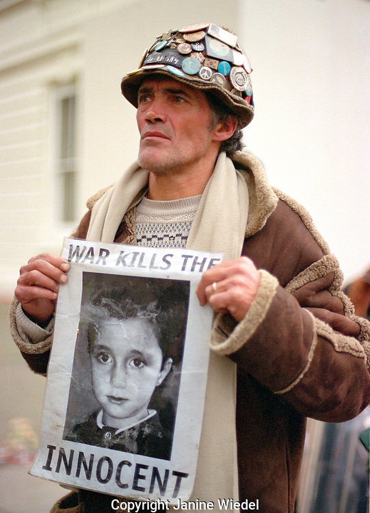 Brian Haw who has spent the last three years camped outside Houses of Parliament taking part in a demonstration against US and UK intervention  in Iraq 2004.