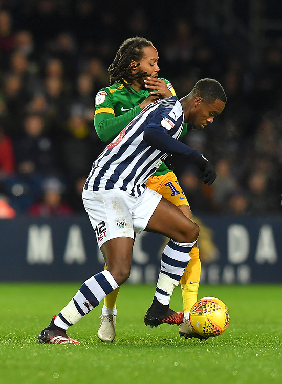 Preston North End's Daniel Johnson battles with West Bromwich Albion's Rekeem Harper<br /> <br /> Photographer Dave Howarth/CameraSport<br /> <br /> The EFL Sky Bet Championship - West Bromwich Albion v Preston North End - Tuesday 25th February 2020 - The Hawthorns - West Bromwich<br /> <br /> World Copyright © 2020 CameraSport. All rights reserved. 43 Linden Ave. Countesthorpe. Leicester. England. LE8 5PG - Tel: +44 (0) 116 277 4147 - admin@camerasport.com - www.camerasport.com