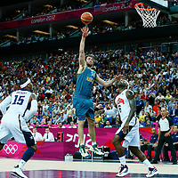 08 August 2012: Australia Matt Nielsen goes for the skyhook during 119-86 Team USA victory over Team Australia, during the men's basketball quarter-finals, at the 02 Arena, in London, Great Britain.
