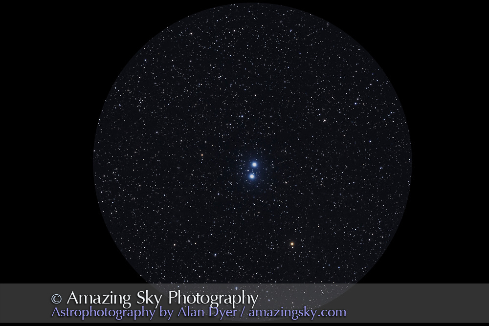 Epsilon Lyrae, the Double-Double Star in Lyra, here resolved into just the main wide pair, but each of those stars is also a tight double. <br /> <br /> Taken from home Nov. 25, 2016 with the 130mm AP f/6 apo refactor with the 6x7 field flattener and Canon 6D at ISO 800 for a stack of 4 x 3 minute exposures.