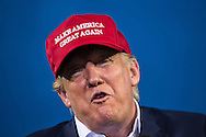 Aug. 21. 2015 Mobile, AL, Republican presidential candidate and business mogul Donald Trump speaking at a campaign pep rally in Ladd Peebles Stadium.