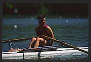 Lucerne, SWITZERLAND.  NZL LW1X Philippa BAKER, 1988  Lucerne International Regatta, Lake Rotsee. June 1988 [Mandatory Credit - Peter Spurrier/Intersport Images] 1988 Lucerne International Regatta
