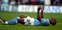 Photo. Aidan Ellis.<br />Manchester City v Tottenham Hotspur.<br />FA Barclaycard Premiership.<br />28/09/2003.<br />City's Trevor Sinclair cant believe he has just missed a chance to score