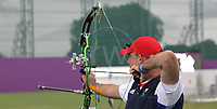 Paralympics London 2012 - ParalympicsGB - Archery Mens Individual Compound Open Heats 30th August 2012<br />   <br /> Richard Hennahane competing in the Mens Archery Individual Compound - Open Heats at the Paralympic Games in London. Photo: Richard Washbrooke/ParalympicsGB