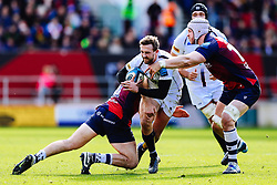 Ashley Beck of Worcester Warriors is tackled by Sam Bedlow and Dave Attwood of Bristol Bears - Rogan/JMP - 23/02/2020 - RUGBY UNION - Ashton Gate Stadium - Bristol, England - Bristol Bears v Worcester Warriors - Gallagher Premiership Rugby.
