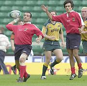 24/05/2002<br /> Sport - Rugby Union<br /> IRB World Sevens Series - Twickenham<br /> Australia v Portugal<br /> Portugal's Paulo Loureiro, delivers the ball to a team mate, quarterback style.<br />    [Mandatory Credit, Peter Spurier/ Intersport Images]<br />    [Mandatory Credit, Peter Spurier/ Intersport Images]
