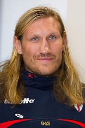 © Licensed to London News Pictures . 26/10/2012 . Salford , UK . Eorl Crabtree of England . Press conference marking a one year countdown to the start of the 2013 Rugby League World Cup , which is being hosted by England and Wales . Photo credit : Joel Goodman/LNP