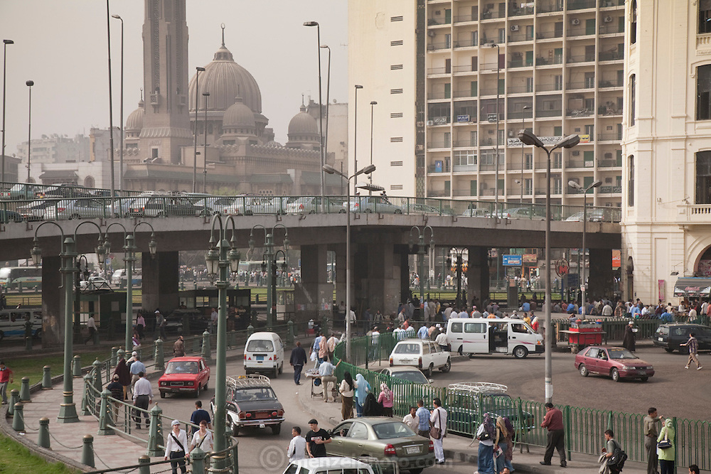 A busy street near Ramses Square in Cairo, Egypt.