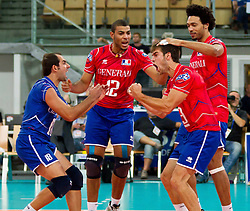 10.09.2011, AUT, Olympiaworld Innsbruck, CEV Volleyball Europa Meisterschaft 2011, Eurovolley 2011, Frankreich vs Finnland, im Bild Jean Francois, (France, #18), Earvin Ngapeth, (France, #12) und Pierre Pujol, (France, #13), during the CEV Volleyball European Championship Man 2011, Olympiaworld sports hall Innsbruck, France vs Finland, EXPA Pictures © 2011, PhotoCredit: EXPA/ P.Rinderer