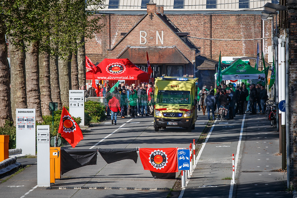 May 9, 2017 - Brugge, BELGIUM - Illustration picture shows an employee strike at Bombardier in Brugge, after it was announced 160 jobs are threatened at the train and tram building factory, Tuesday 09 May 2017. BELGA PHOTO KURT DESPLENTER (Credit Image: © Kurt Desplenter/Belga via ZUMA Press)