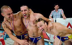 Players of Koper celebrate at last final game of Slovenian Waterpolo National Championship between ASD Rokava Koper and VK Triglav Kranj, on June 6, 2009, in Zusterna, Koper, Slovenia. Rokava Koper won 13:6 and became Slovenian National Champion for the season 2008/2009. (Photo by Vid Ponikvar / Sportida)