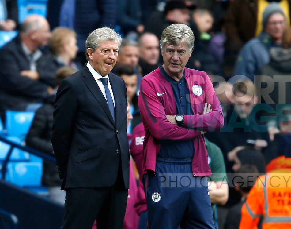 Roy Hodgson manager of Crystal Palace with Brian Kidd of Manchester City before the premier league match at the Etihad Stadium, Manchester. Picture date 22nd September 2017. Picture credit should read: Simon Bellis/Sportimage