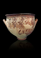 'House of Warriors Vase' : Pictoral Mycenaean Krater depicting Mycenaean soldiers in full armour, Mycenae Acropolis, 12th Cent BC.  National Archaeological Museum Athens. Cat no 1426.  Black Background<br /> <br /> This large pictoral Mycenaean Krater depicts Mycenaean soldiers full armed with helmet, cuirass, greaves, shield and spaer as they depart for war. This is a superb example of Mycenaean pictoral pottery .<br /> <br /> If you prefer to buy from our ALAMY PHOTO LIBRARY  Collection visit : https://www.alamy.com/portfolio/paul-williams-funkystock/mycenaean-art-artefacts.html . Type -   Athens    - into the LOWER SEARCH WITHIN GALLERY box. Refine search by adding background colour, place, museum etc<br /> <br /> Visit our MYCENAEN ART PHOTO COLLECTIONS for more photos to download  as wall art prints https://funkystock.photoshelter.com/gallery-collection/Pictures-Images-of-Ancient-Mycenaean-Art-Artefacts-Archaeology-Sites/C0000xRC5WLQcbhQ