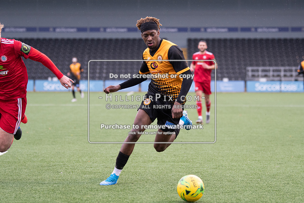 BROMLEY, UK - NOVEMBER 02: Andre Coker, of Cray Wanderers FC, during the BetVictor Isthmian Premier League match between Cray Wanderers and Worthing at Hayes Lane on November 2, 2019 in Bromley, UK. <br /> (Photo: Jon Hilliger)