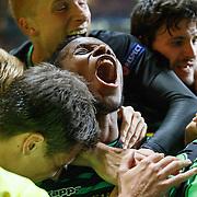 Mönchengladbach's Ibrahima Traoré (16) celebrates Mönchengladbach's André Hahn (28) scores 2nd goal for his team and celebrates.Wednesday 19th Oct 2016