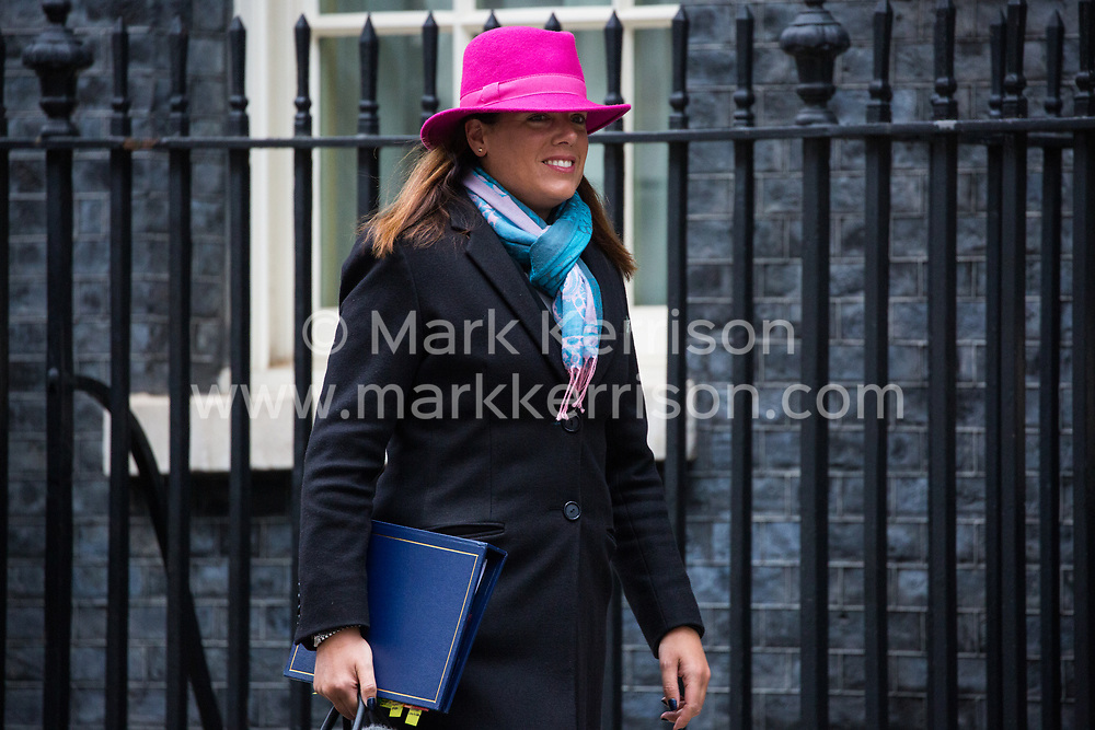 London, UK. 15th January, 2019. Caroline Nokes MP, Secretary of State for Immigration, leaves 10 Downing Street following a Cabinet meeting on the day of the vote in the House of Commons on Prime Minister Theresa May's proposed final Brexit withdrawal agreement.