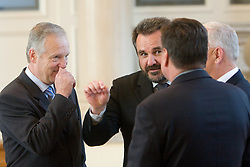 Branko Florjanic and Stane Orazem at Reception of Slovenian National football team at president of Republic of Slovenia dr. Danilo Turk after Slovenia qualified for the FIFA World Cup South Africa 2010, in President's place , Ljubljana, Slovenia.   (Photo by Vid Ponikvar / Sportida)