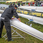 Calvin Ferguson (coach) shines up the mens double boat <br /> <br /> Racing the Finals at FISA World Rowing Cup III on Sunday 14 July 2019 at the Willem Alexander Baan,  Zevenhuizen, Rotterdam, Netherlands. © Copyright photo Steve McArthur / www.photosport.nz