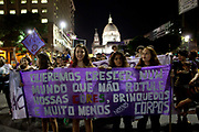 Womens Rights / Feminism March on 1st June 2016 in Rio de Janeiro, Brazil. Thousands of women, joined by some men, marched in central Rio de Janeiro alongside other cities in Brazil, to demand more respect for women and regonition throughout, what is in some ways a macho society. The march was also in reaction to a brutal gang rape last week in Santa Cruz, Rio de Janeiro, where the suspects posted a video of the assault on social media, the events have shocked the country.
