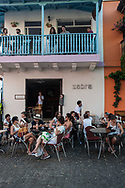 One of the many cafes with outdoor seating in the historic center of Cartagena de Indias
