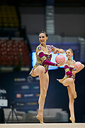 """Italian Senior Group during the """"1st Trofeo Citta di Monza"""". On this occasion we have seen the rhythmic gymnastics teams of Belarus and Italy challenge each other. The Bilateral period was only June 9, 2019 at the Candy Arena in Monza, Italy."""