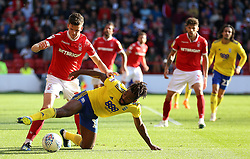 Nottingham Forest's Sam Byram (left) and Birmingham City's Jacques Maghoma battle for the ball