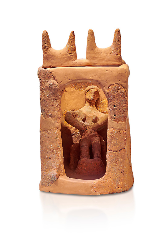 Minoan clay model shrine depicting a priestess playing the part of a goddess in a small single roomed house, Galatas 1700-1650 BC; Heraklion Archaeological  Museum, white background. .<br /> <br /> If you prefer to buy from our ALAMY PHOTO LIBRARY  Collection visit : https://www.alamy.com/portfolio/paul-williams-funkystock/minoan-art-artefacts.html . Type -   Heraklion   - into the LOWER SEARCH WITHIN GALLERY box. Refine search by adding background colour, place, museum etc<br /> <br /> Visit our MINOAN ART PHOTO COLLECTIONS for more photos to download  as wall art prints https://funkystock.photoshelter.com/gallery-collection/Ancient-Minoans-Art-Artefacts-Antiquities-Historic-Places-Pictures-Images-of/C0000ricT2SU_M9w