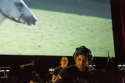 Brooklyn, NY - 20 January 2015. The dress rehearsal of Sufjan Stevens' Round-Up, with slow motion film of the Pendleton, Oregon Round-Up by Aaron and Alex Craig, music performd by Sufjan Stevens and Yarn/Wire. Composer Sufjan Stevens is in the foreground.