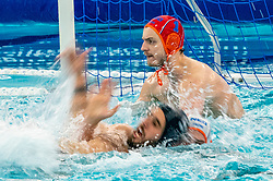 Eelco Wagenaar, Guus Wolswinkel of the Netherlands in action against Enzo Khasz of France during the Olympic qualifying tournament. The Dutch water polo players are on the hunt for a starting ticket for the Olympic Games on February 17, 2021 in Rotterdam