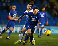 Sean Morrison of Cardiff city © in action. EFL Skybet championship match, Cardiff city v Bolton Wanderers at the Cardiff city Stadium in Cardiff, South Wales on Tuesday 13th February 2018.<br /> pic by Andrew Orchard, Andrew Orchard sports photography.