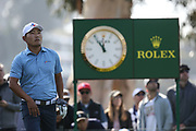 Sung Kang plays his shot from the ninth tee during the Genesis Invitational third round at Riviera Country Club, Saturday, Feb. 15, 2020, in the Pacific Palisades area of Los Angeles.