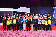 BANGKOK, THAILAND - MAY 26: Team Thailand celebrate on stage with their silver medals during the Medals Presentation at the BWF Total Thomas and Uber Cup Finals 2018, Impact Arena, Bangkok, Thailand on May 26, 2018.<br /> .<br /> .<br /> .<br /> (Photo by: Naratip Golf Srisupab/SEALs Sports Images)<br /> .<br /> Any image use must include a mandatory credit line adjacent to the content which should read: Naratip Golf Srisupab/SEALs Sports Images