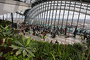 London skyline seen from the Sky Garden on the top of the Walkie Talkie building in the City of London.