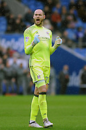 Fulham goalkeeper David Button celebrates  after Stefan Johansen (out of shot) scores his teams 1st goal. EFL Skybet championship match, Cardiff city v Fulham at the Cardiff city stadium in Cardiff, South Wales on Saturday 25th February 2017.<br /> pic by Carl Robertson, Andrew Orchard sports photography.