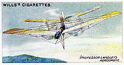 Samuel Pierpont Langley (1834-1906) American astronomer and aeronautical pioneer. Langley's steam-powered model plane Aerodrome. In 1896 Aerodrome 5 flew 3/4 mile. From set of cards on aviation published 1910. Chromolithograph.