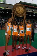 The Tennessee women's sprint medley relay team of (from left) Kameisha Bennett, Toyin Olupona, Tianna Madison and DeeDee Trotter set a collegiate record of 3:41.78 in the 110th Penn Relays at  Franklin Field on Friday, April 23, 2004 in Philadelphia.