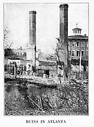 Ruins of Atlanta from the book ' The Civil war through the camera ' hundreds of vivid photographs actually taken in Civil war times, sixteen reproductions in color of famous war paintings. The new text history by Henry W. Elson. A. complete illustrated history of the Civil war