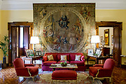 The sitting room in Villa Spaletti Trivelli Hotel, a 5 star, antique boutique Hotel in Rome, Italy.