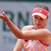 PARIS, FRANCE October 03. Sofia Kenin of the United States performs her no look service ball toss against Irina Bara of Romania in the third round of the singles competition on Court Philippe-Chatrier during the French Open Tennis Tournament at Roland Garros on October 3rd 2020 in Paris, France. (Photo by Tim Clayton/Corbis via Getty Images)