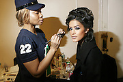 Jeselen Gonzalez preps at the South Pole Fashion show during ' The Stay in School Concert ' facilated by Entertainers for Education held at The Manhattan Center on October 28, 2008 in New York City