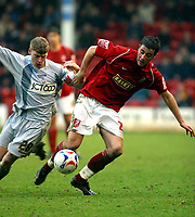 Photo: Dave Linney.<br />Walsall v Bradford City. Coca Cola League 1. 25/03/2006<br />Walsall's Michael Leary(R) in a midfield battle with  Joe Colbeck.