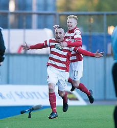 Hamilton's Darian Mackinnon celebrates after scoring their goal.<br /> Falkirk 1 v 1 Hamilton, Scottish Premiership play-off semi-final first leg, played 13/5/2014 at the Falkirk Stadium.