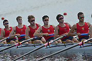 Sydney, Australia.   Interstate Men's Youth Eight , South Australia's, move away from the start pontoon at the Kings and Queen's  Cup Interstate Regatta, combined with the FISA World Cup I. and  Sydney International Rowing Regatta. Sydney International Rowing Centre, Penrith Lakes, NSW.   Saturday   23/03/2013 [Mandatory Credit. Peter Spurrier/Intersport Images]..