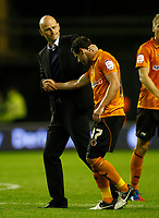 Football- Championship- Wolverhampton Wanderers vs. Barnsley- Wolves manager Stale Solbakken celebrates the win with Matt Jarvis at Molineux