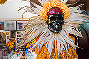 A decorated skeleton figure inside the Temple of Nuestra Señora de la Santa Muerte or Church of the Saint of the Dead November 1, 2017 in Santa Ana Chapitiro, Michoacan, Mexico.