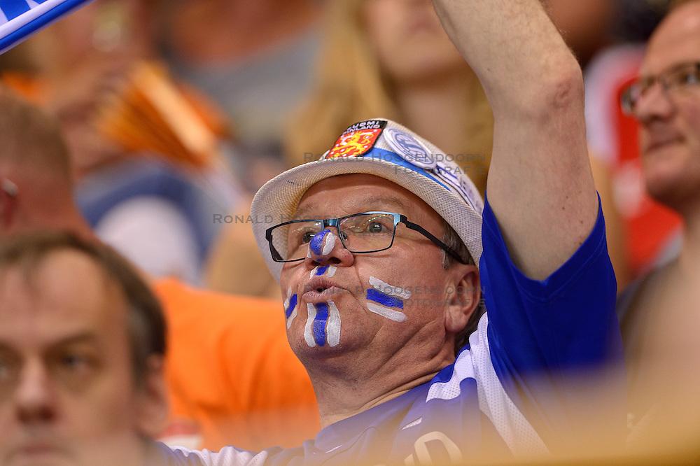 20150614 NED: World League Nederland - Finland, Almere<br /> De Nederlandse volleyballers hebben in de World League ook hun tweede duel met Finland gewonnen. Na de 3-0 zege van zaterdag werd zondag in Almere met 3-1 (22-25, 25-20, 25-13, 25-19) gewonnen / Fins support